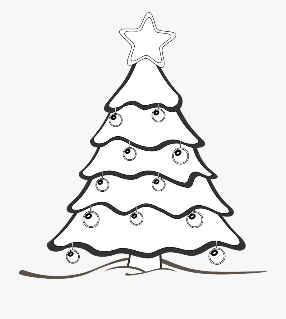 Xmas Tree Clipart Black And White.