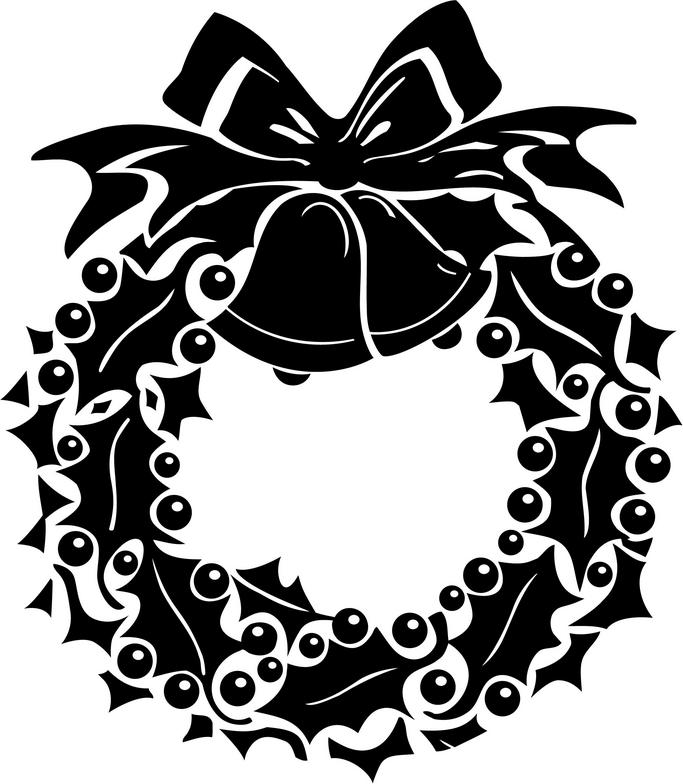Free Black And White Christmas Wreath Clipart, Download Free.