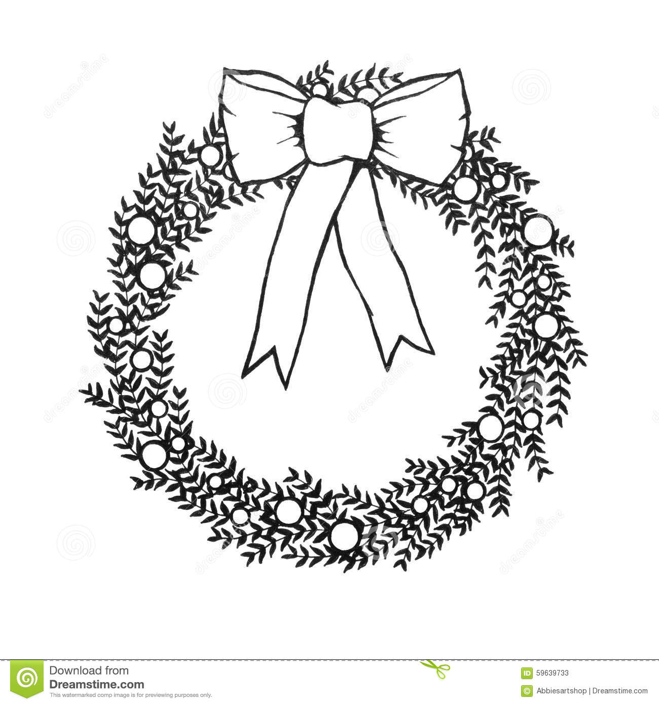 Christmas wreath clipart black and white 2 » Clipart Station.