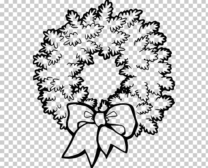 Christmas Wreath Garland PNG, Clipart, Art, Black And White, Branch.