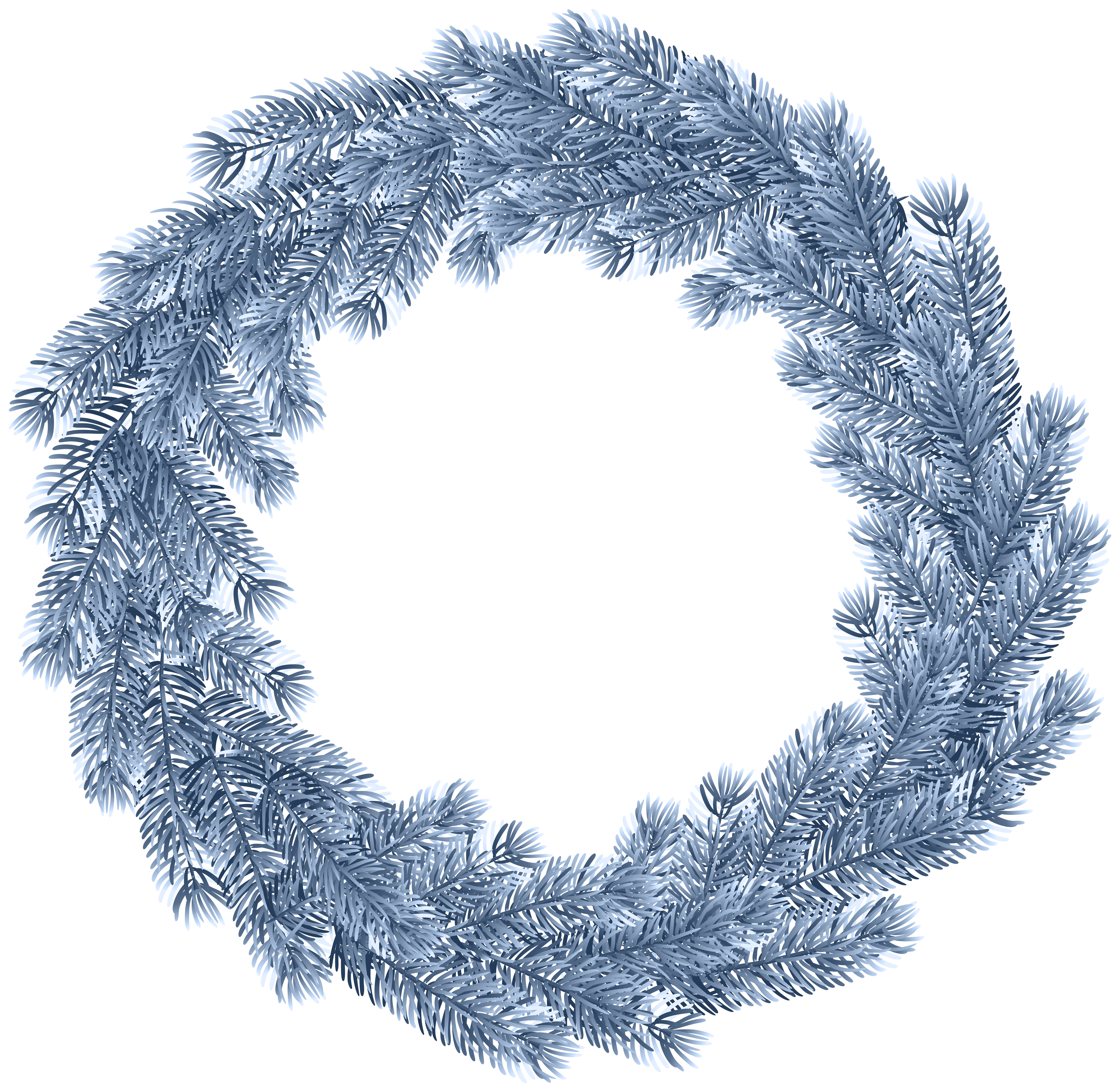 Christmas Wreath Blue PNG Clip Art.