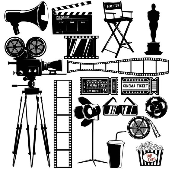 Cinema,Movie,Film,Countdown,Oscar,Popcorn,Clapboard,Strip.