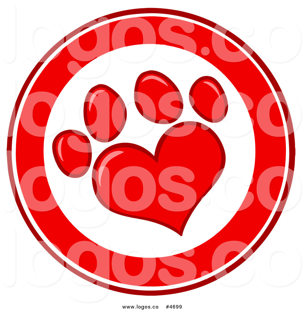 Royalty Free Logo of a Red and White Heart Shaped Paw Print.