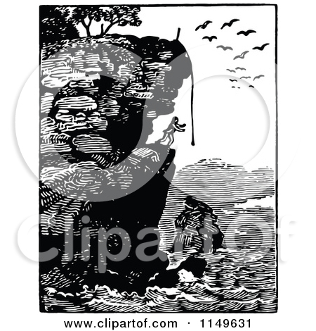 Clipart of a Retro Vintage Black and White Man on a Coastal Cliff.