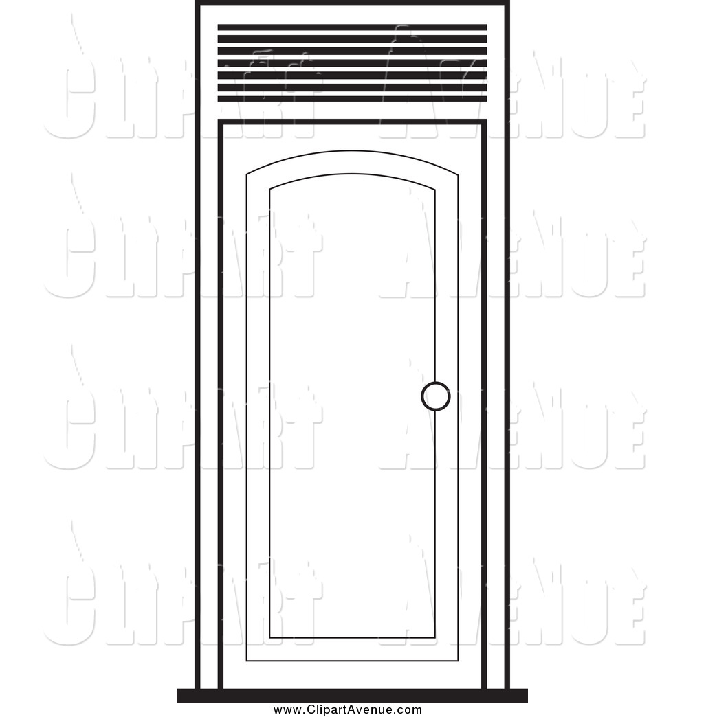 Avenue Clipart of a Black and White Door by Lal Perera.