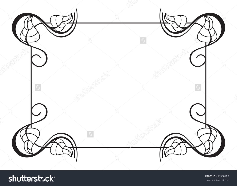 Black White Outline Frame Leaves Raster Stock Illustration.