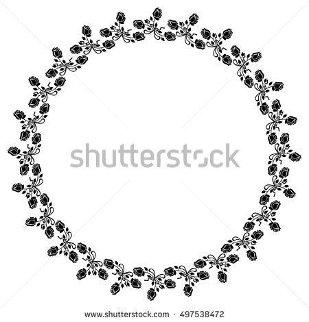 Round Outline Frame Shamrock Silhouette Stock Vector 367372241.