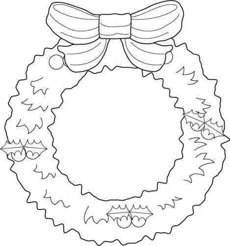 Clipart Christmas Wreath Black And White.
