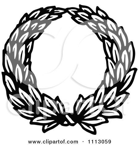 Clipart Vintage Black And White Holly Wreath.