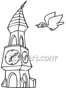 Clock Tower with a Bird Royalty Free Clipart Picture.