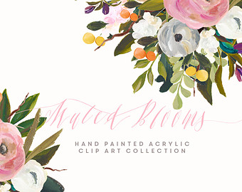 Hand Painted Flower Clip Art Collection.
