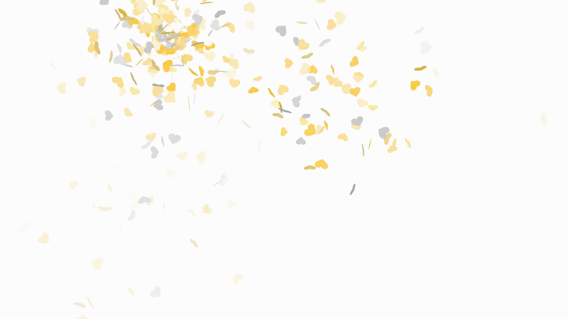 Gold and silver heart shape confetti on white background.