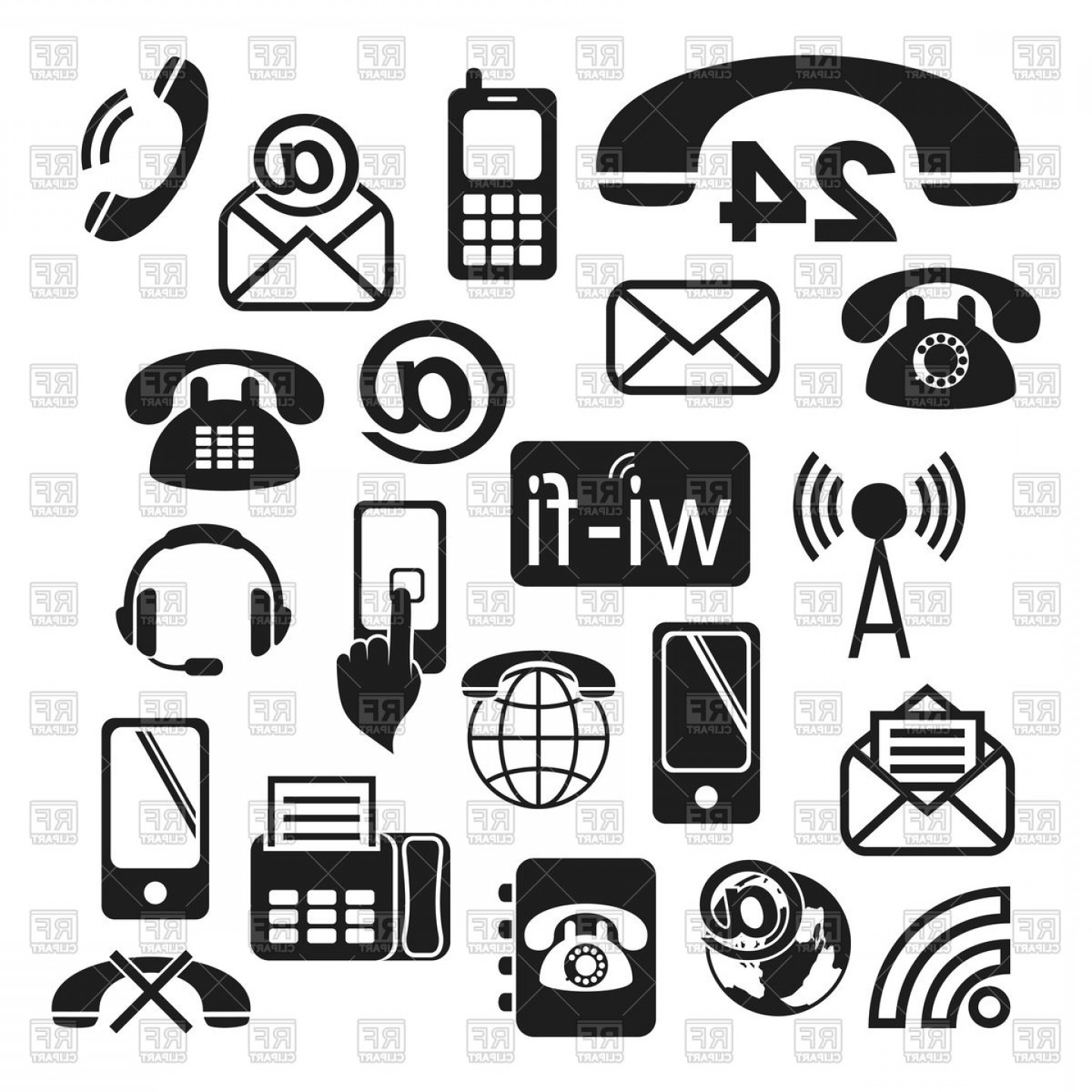 Set Of Contact Icons Wifi Telephone Email Fax Vector Clipart.