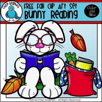 FREE Bunny Reading Fall Clip Art Set.