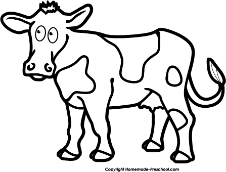 Cows clipart black and white.