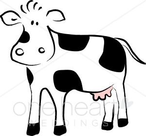Cartoon Black and White Cow.