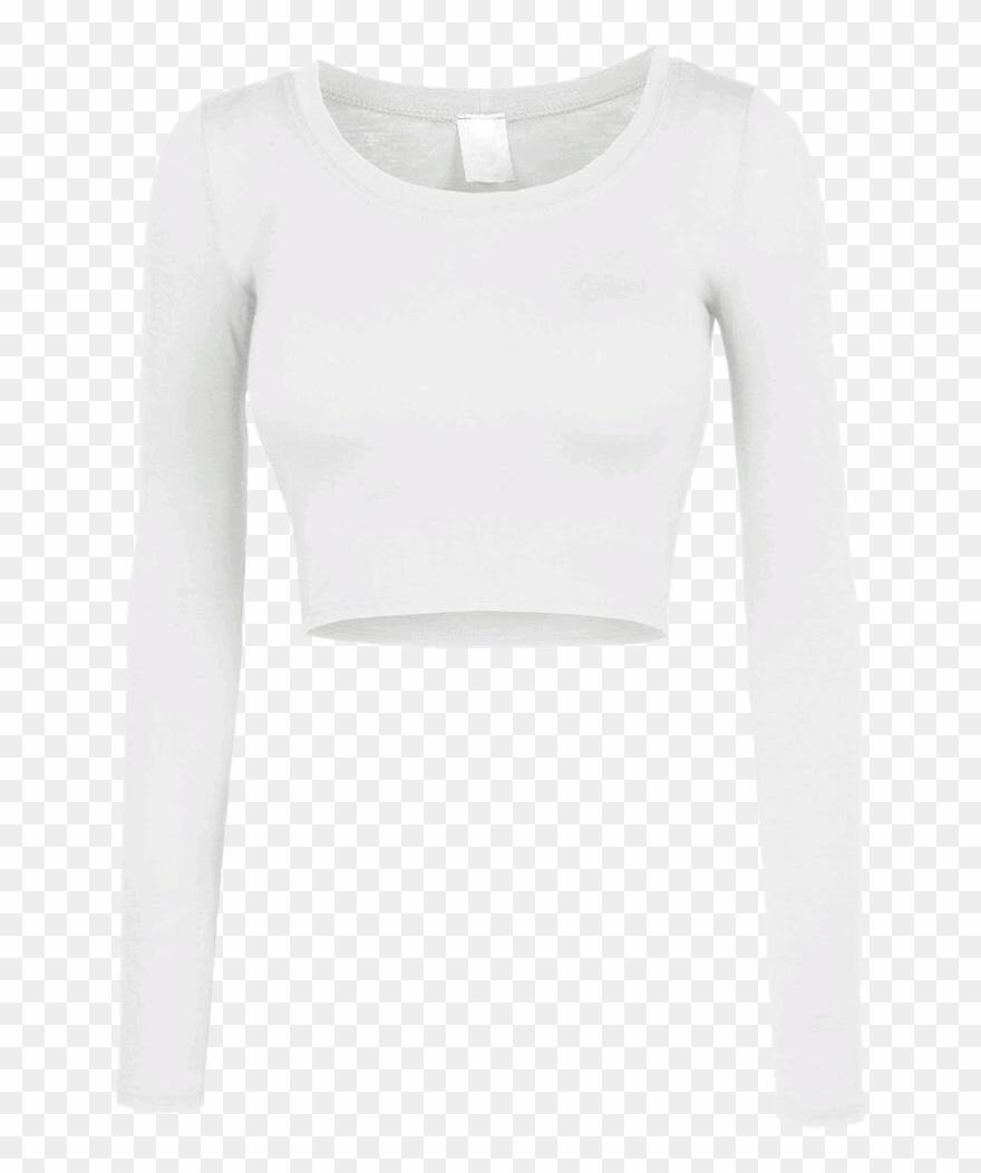 Shirt Croptop Crop White Longsleeve Longsleeves Longsle.