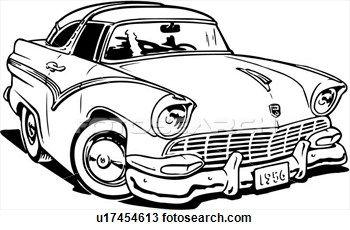 Illustration, lineart, 1956, ford, crown, victoria, classic.