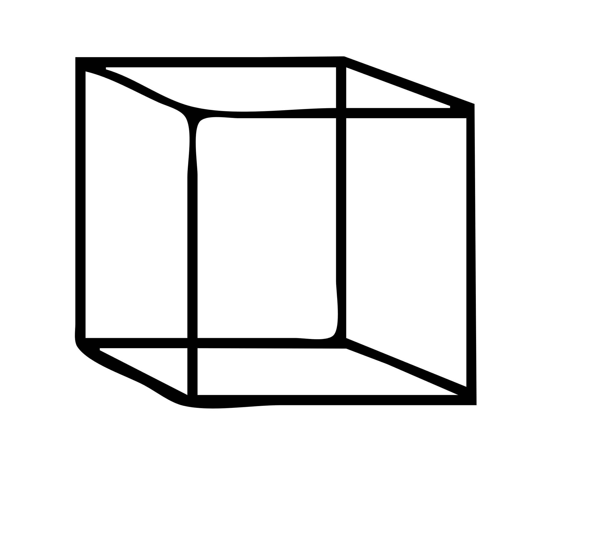 Cube clipart black and white, Cube black and white.