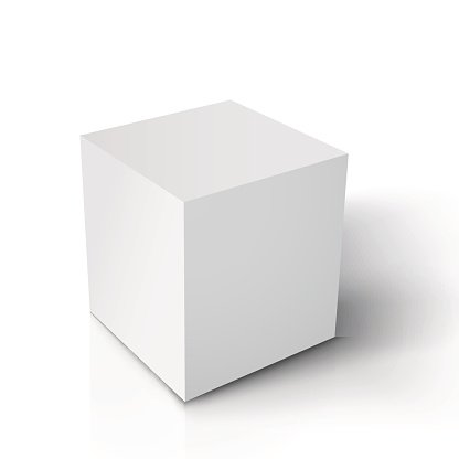 Realistic Vector Cube. Vector Paper White Cube Isolated on.