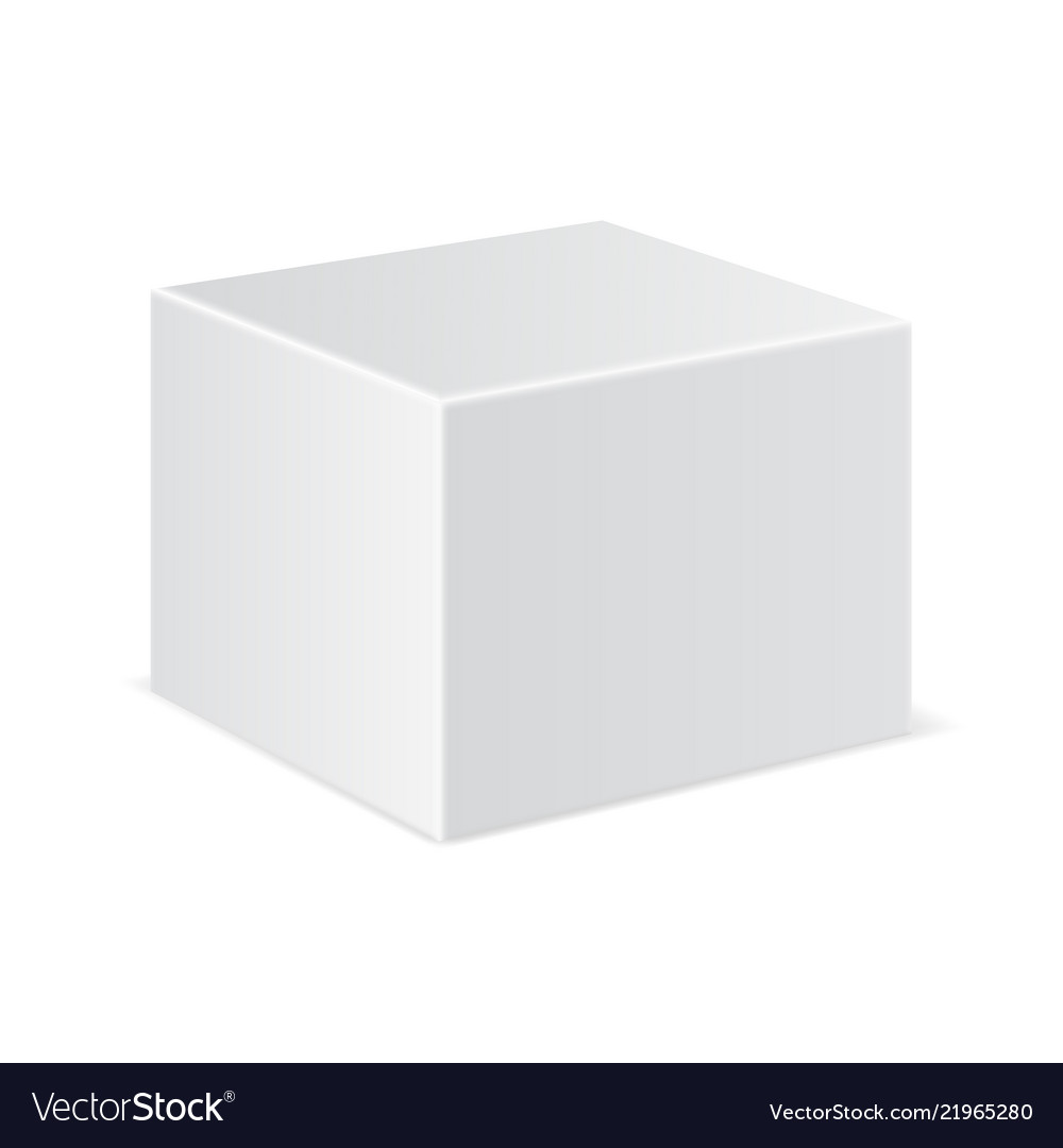 White cube mockup 3d template.