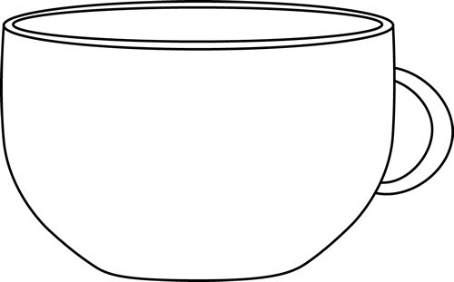 Black and white cup clipart.