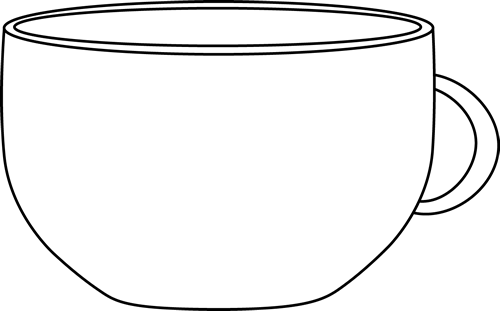 Black and White Cup Clip Art.