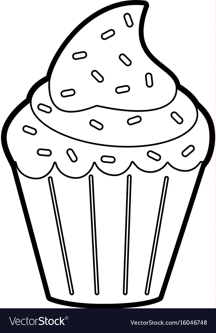 Delicious cupcake with sprinkles icon image.