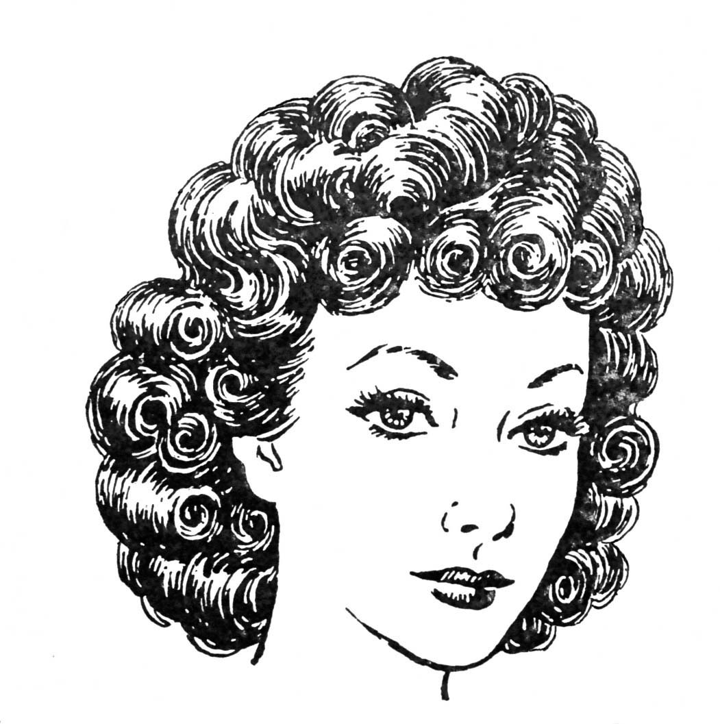Curly Hair Clipart Black And White.