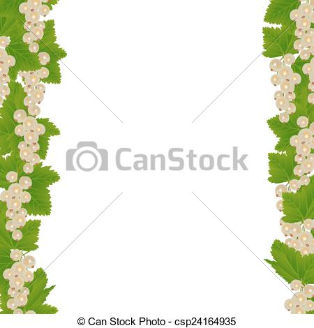 Vectors of White currants border with leaves isolated on white.