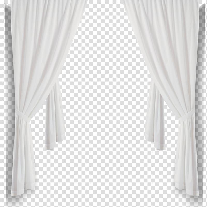 White folded window curtain illustration, Curtain Black and.