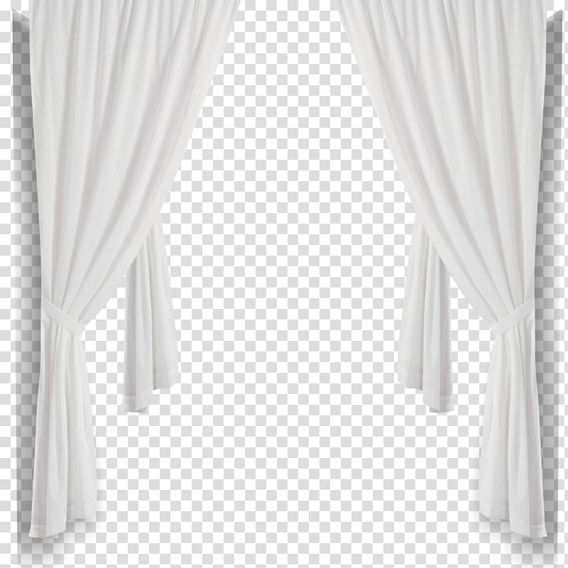 White folded window curtain illustration, Curtain Black and white.