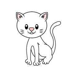 Free Cute White Cat Clipart Image|Illustoon.