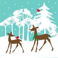 white deer scene vector graphic.