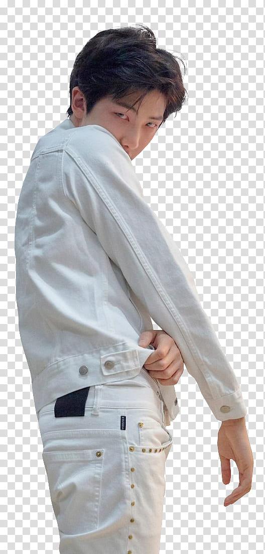 RM of BTS wears white denim jacket transparent background.