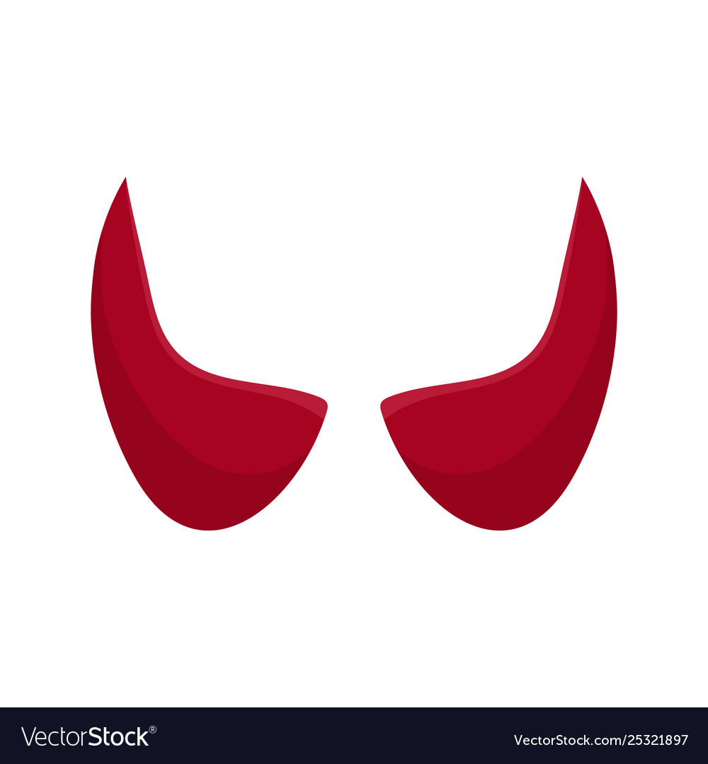 Red devil horn isolated on white background.