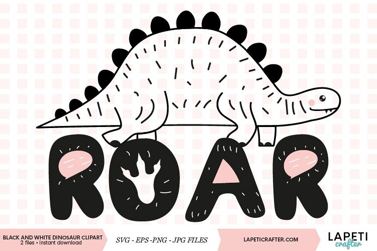 Black and white dinosaur clipart with transparent background.