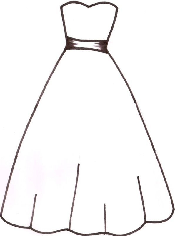 Prom Dress Clipart Black And White.