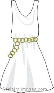 Clip Art of a Sleeveless White Dress.
