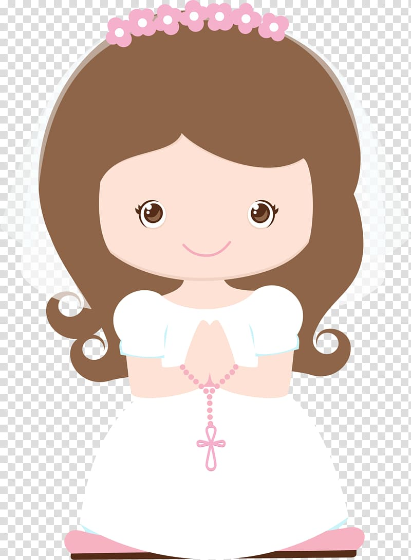 Woman wearing wedding dress holding rosary , First Communion.