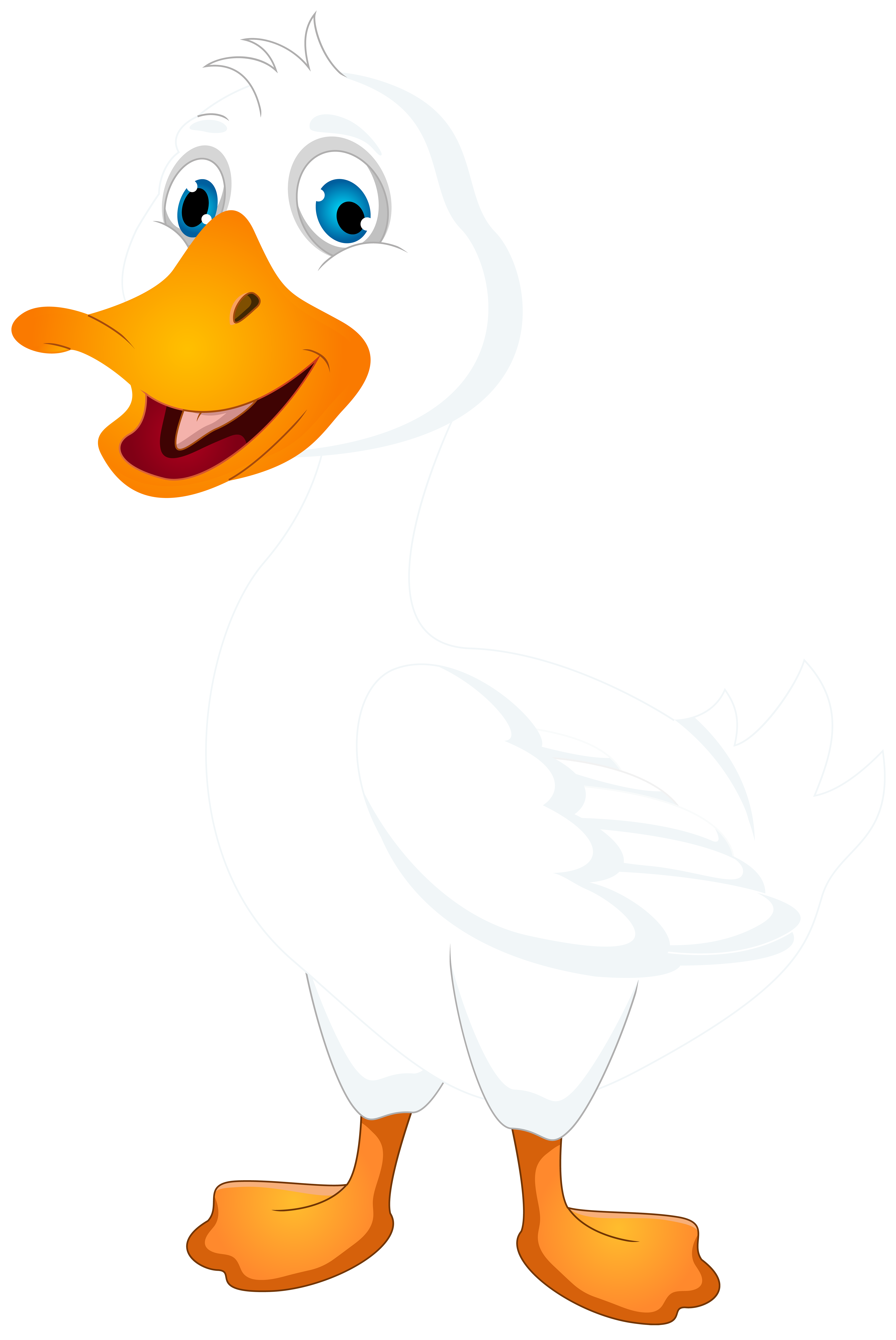 White Duck Cartoon PNG Clip Art Image.