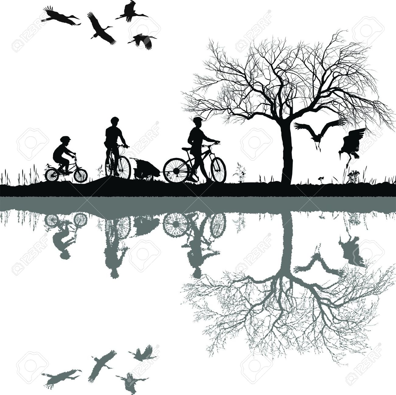Illustration Of A Family On Bicycles And Their Reflection In.
