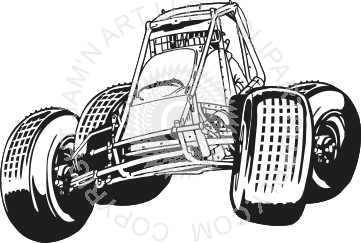 Buggy Race Car in Black and White.