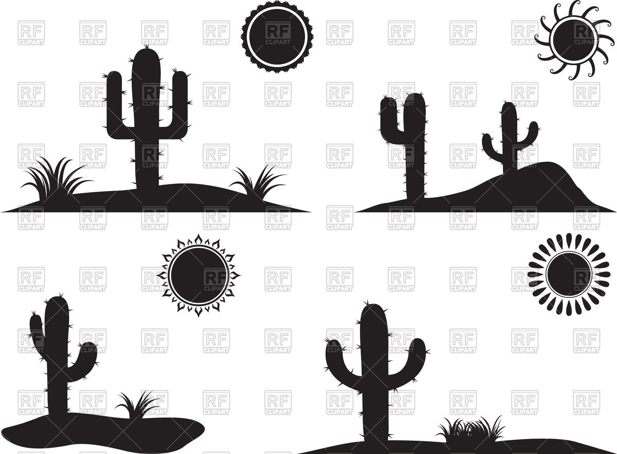 Silhouette of desert landscapes with cactus and dune Vector Image.