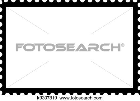 Stock Illustration of Blank Open Postage Edge Outline Landscape.