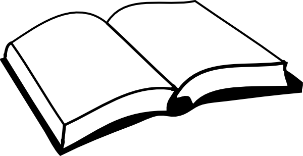 Open book clipart black and white edge.