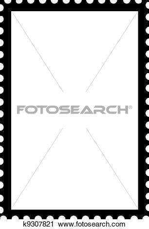 Clipart of Blank Open Postage Edge Outline Portrait Template Black.