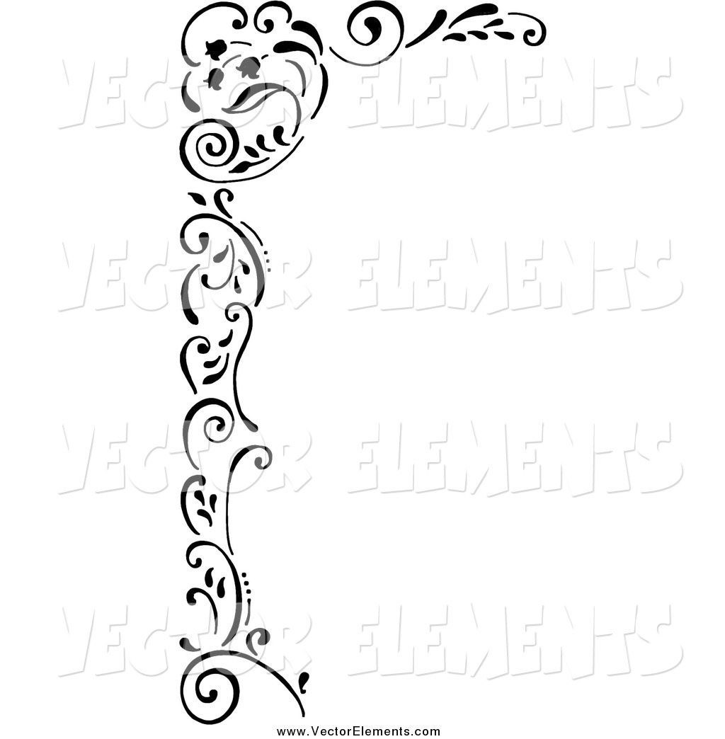 Vector of a Black and White Tulip Corner Edge Border by Gina Jane.