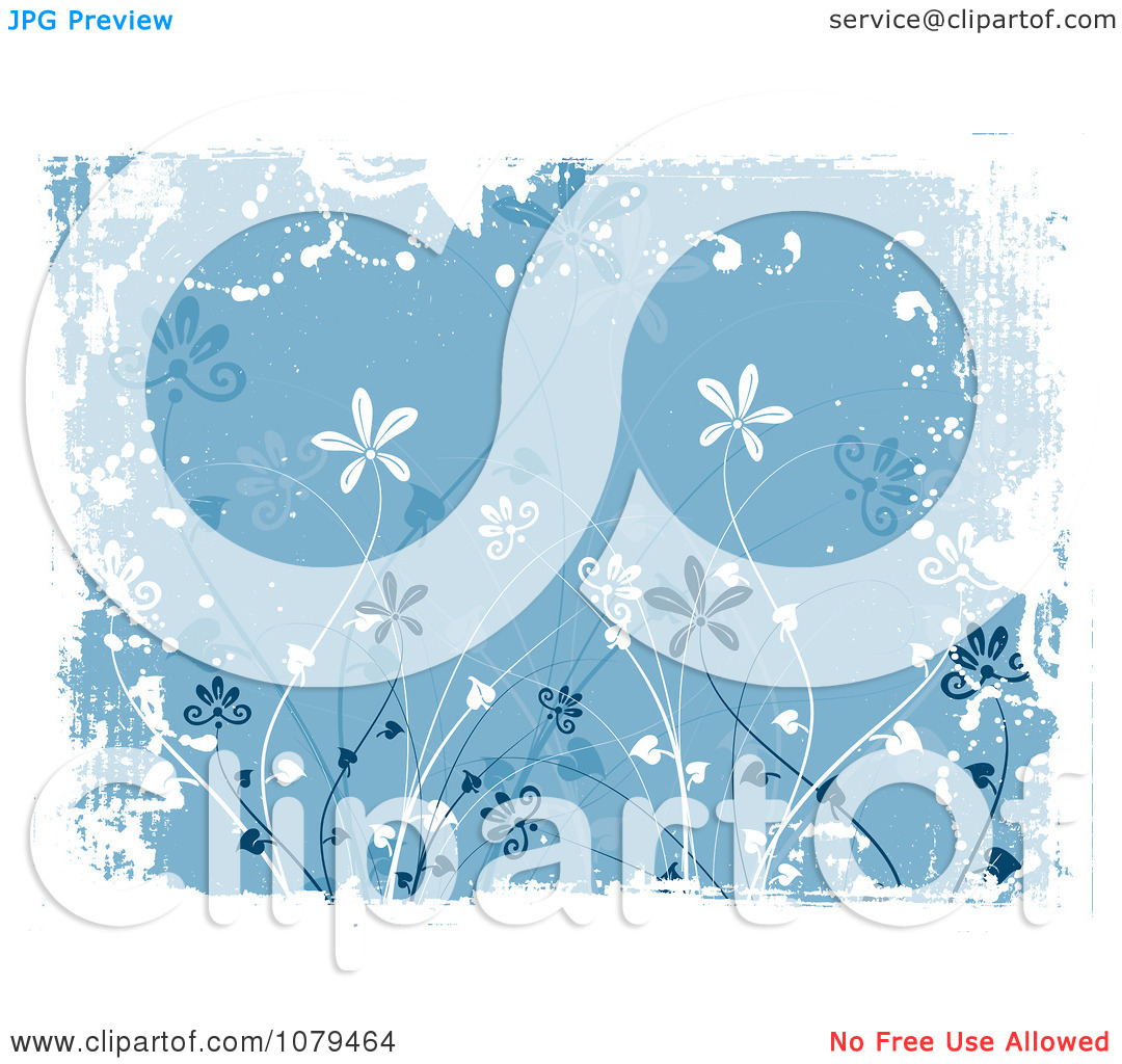 Clipart Blue Floral Grunge Background With Tall Flowers And White.