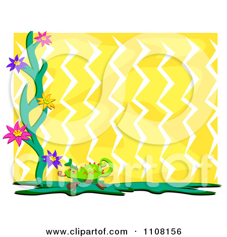 Clipart Chameleon Lizard With Flowers Over Yellow Zig Zags With.